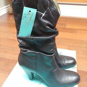 Jessica Simpson Cowboy Boots - Black faux leather